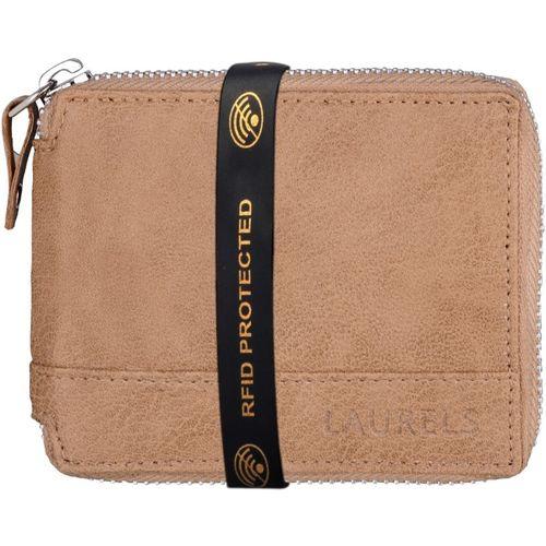 Laurels Men Tan Genuine Leather Wallet(4 Card Slots)