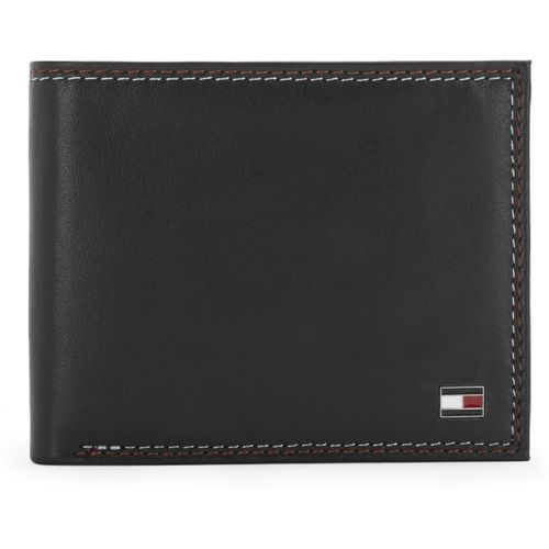 Tommy Hilfiger Men Casual Black Genuine Leather Wallet(10 Card Slots)