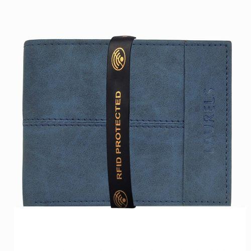 Laurels Men Blue Genuine Leather Wallet(5 Card Slots)