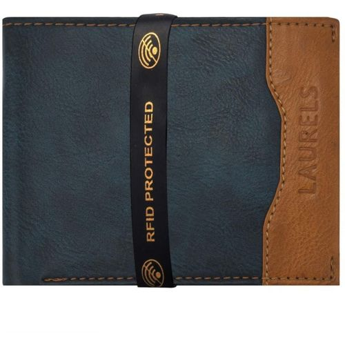 Laurels Men Blue Genuine Leather Wallet(6 Card Slots)