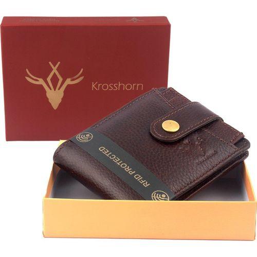 Krosshorn Men Brown Genuine Leather Wallet(7 Card Slots)