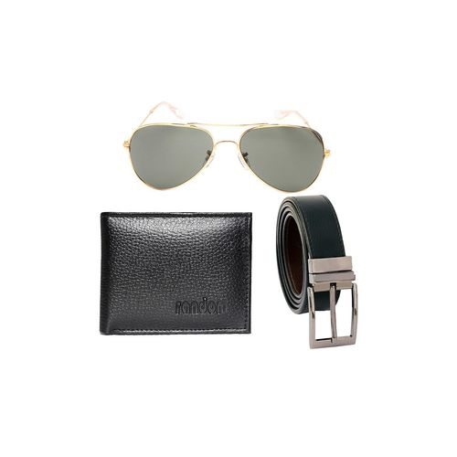 Random Mens Accessories black leatherette wallet with sunglass