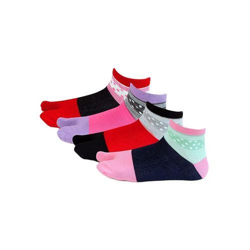 Bonjour multi colored cotton ankle length socks set of 4
