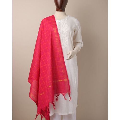 Indie Picks South Cotton Checked Dupatta with Zari Border
