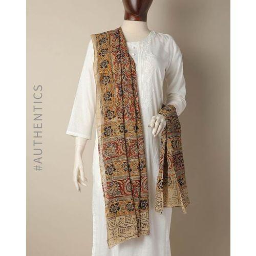 Indie Picks Hand Block Kalamkari Print Cotton Dupatta