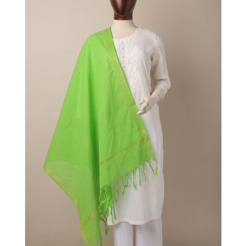 Indie Picks Checked South Cotton Dupatta with Zari Border