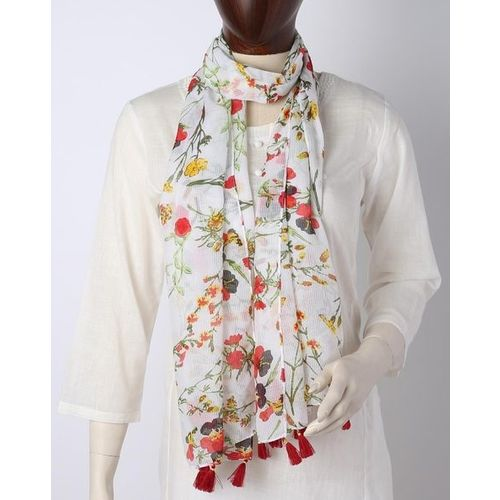 DNMX Floral Print Scarf with Tassels