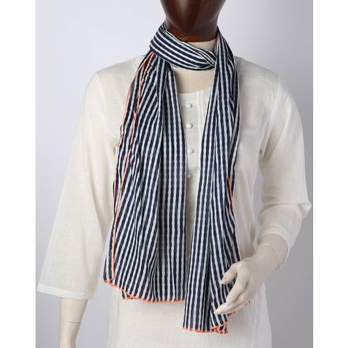 DNMX Striped Scarf with Contrast Trims