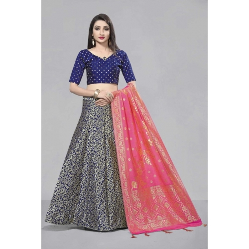 Divastri Pink & Blue Self Design Semi Stitched Lehenga Choli