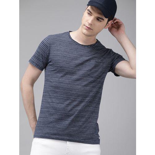The Bear House navy blue striped pocket t-shirt
