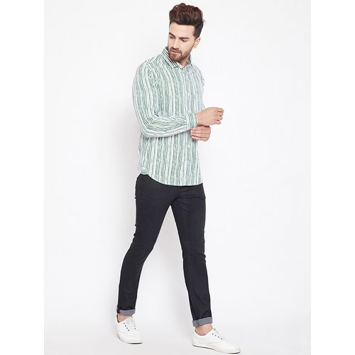 Canary London green striped casual shirt