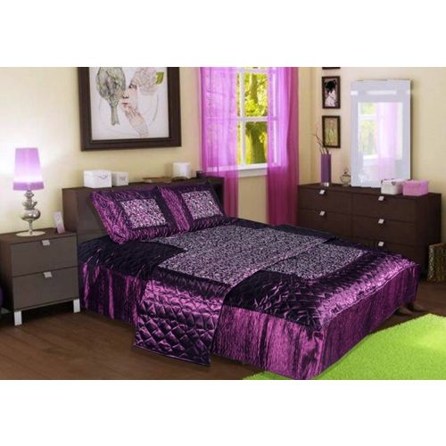 Chelsi Satin Bedding Set(Purple)