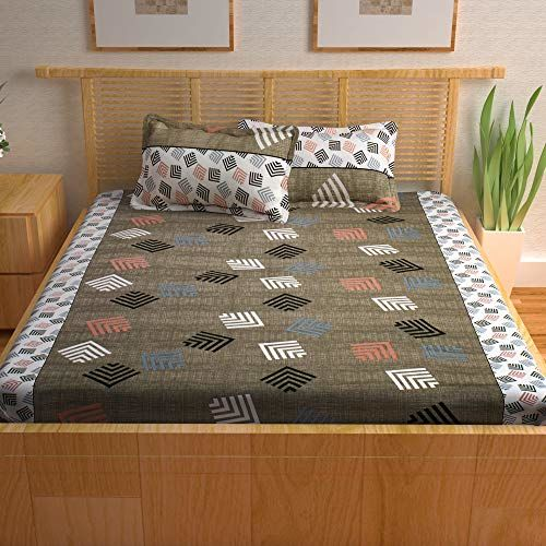 Story@Home Prism Collection 120 TC 100% Cotton Elegant Abstract Pattern 1 Double Bedsheet with 2 Pillow Cover - Dark Brown