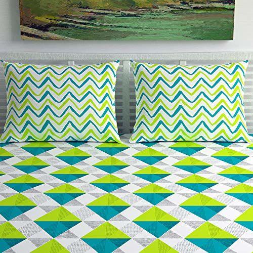 Divine Casa 144 TC Green Cotton Double King Geometric Bedsheet