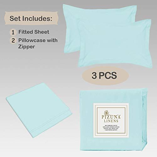 Pizuna Cotton 400 Thread Count Solid Ice Aqua Blue 100% Long Staple Cotton Satin King Size Bed Sheet with 2 Pillow Covers