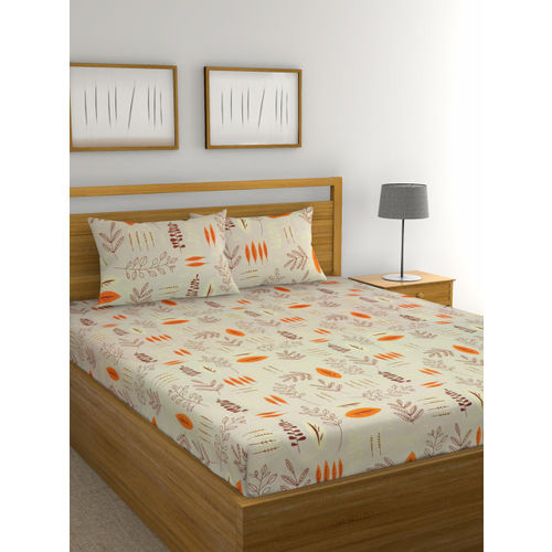 Raymond Home Multicoloured Floral 104 TC Cotton Double Queen Bedsheet with 2 Pillow Covers