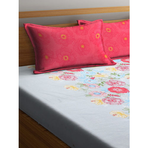 SPACES Grey & Pink Floral 210 TC Cotton 1 Queen Bedsheet with 2 Pillow Covers