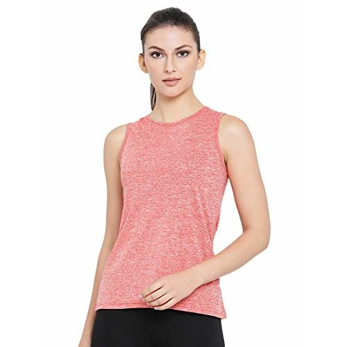 Clovia Women's Light Red Gym/Sports Textured Activewear Top (AT0070P04_Red_S)