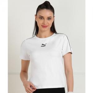Puma Solid Women Round Neck White T-Shirt