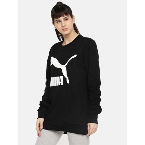 Puma Women Black Graphic Logo Printed Round Neck T-shirt
