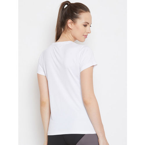 PERFKT-U Women White Printed Round Neck T-shirt