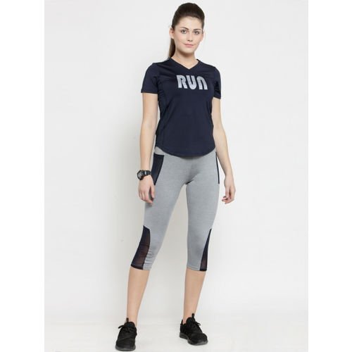 BUKKUM Women Navy Blue Printed V-Neck Sports T-shirt