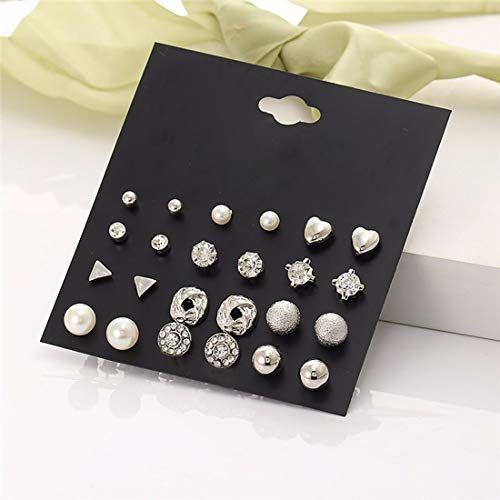Jewels Galaxy Copper Stud Earrings for Women (Silver) (JG-PC-ERGG-150)