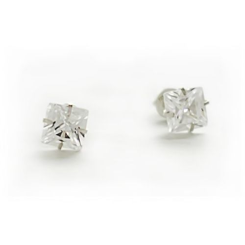 Silverwala 925-92.5 Sterling Silver Princess Cut Real Cubic Zirconia Stud Earrings For Men,Women,Children,Boys and Girls (6.00)