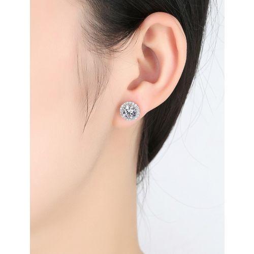 MYKI Royal Queen Solitaire Stud Cubic Zircon Earring For Women & Girls Swarovski Zirconia Sterling Silver Stud Earring