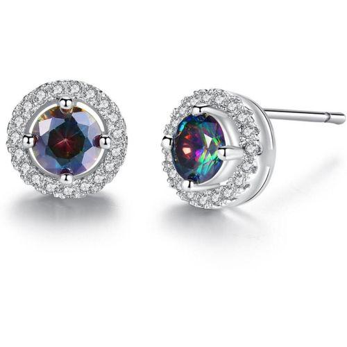 MYKI Trendy Multicolor Silver Stud Zircon Earrings For Women & Girls Swarovski Zirconia Sterling Silver Stud Earring