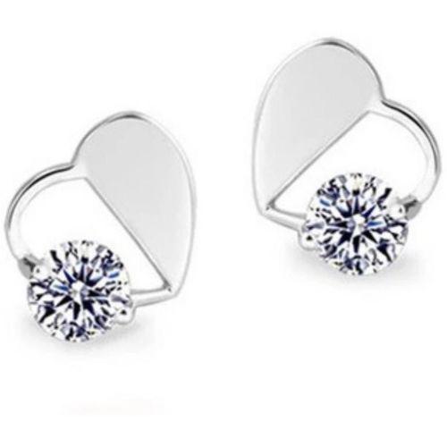 MYKI Heart Shape Sil Swarovski Zirconia Sterling Silver Stud Earring