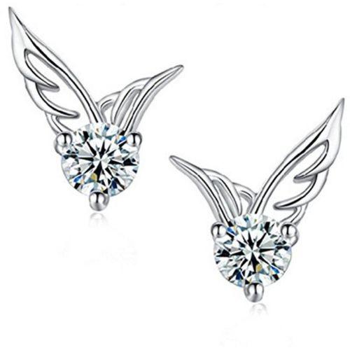 MYKI High Quality CZ Fashion Earring Angel Wings for Women& Girls Stud Earrings Swarovski Zirconia Sterling Silver Stud Earring