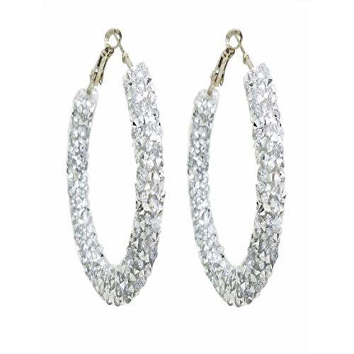Total Fashion Trendy Austrian Crystal Big Round Circle Rhinestone Hoop Earrings For Women (Silver)