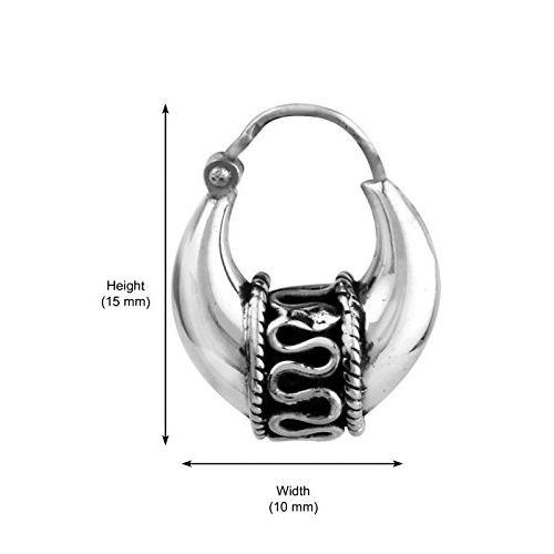 Abhooshan Unisexual Kaju Balis. 925 Sterling Silver Hoop Earrings for Men - Classic Modern Men Jewelry - Men Earrings - Men Hoops - Sterling Silver Earrings for