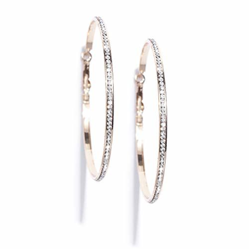 Jewels Galaxy Luxuria Trending Circular Design AAA AD Gold Plated Brilliant Hoop Earrings For Women/Girls (Gold, 7)
