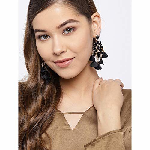 Jewels Galaxy Elegant Crystal Handcrafted Wonderful Chain Drop Earrings For Women/Girls