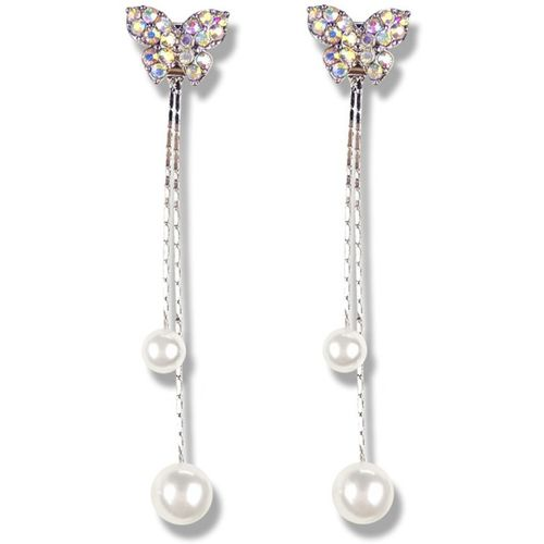 Divastri Butterfly Pearl Hanging Tassels Stylish Silver Earrings for Women and Girls Pearl Metal Drops & Danglers