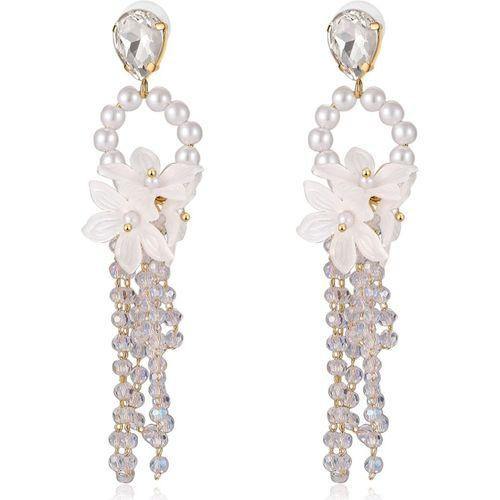Jewels Galaxy Luxuria White Copper Pearl Alloy Drops & Danglers