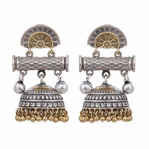 Peora Indian Traditional Designer Dual Tone Oxidised Silver Plating Antique Jhumka for Women