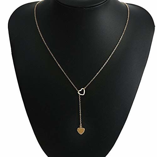Sorella'z Women's Golden Metal Double Heart Chain Necklace