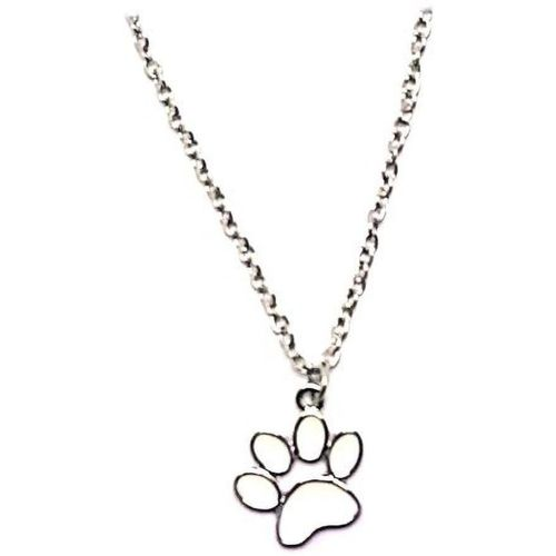 A2S2 Footprint Necklace Dog Cat Kitty Kitten Claw Paw Print Enamel Silver Color Pendant Cute Fashion Simple Jewelry Women (White, 1pcs) Silver Plated Alloy Necklace