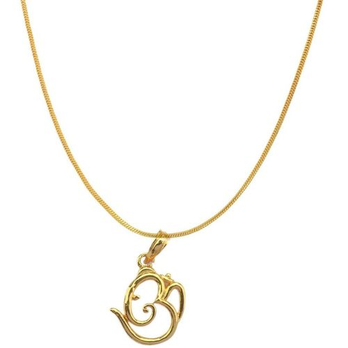 Beadworks Gold Plated Om Locket/Pendant with 18