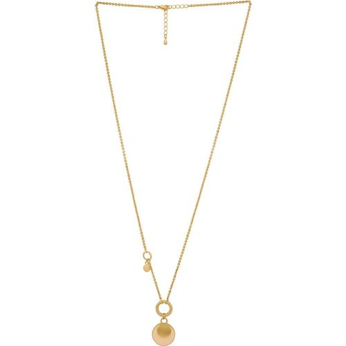 FD Styles High Street 18k Yellow Gold Plating Alloy Pink Pendant & Chain Casual Wear for Women & Girl's Gold-plated Plated Alloy Necklace