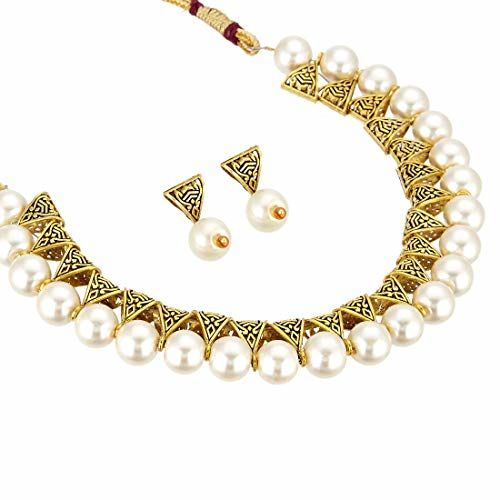 Jewels Galaxy Exquisite Beaded Antique Plushy Necklace Set for Women/Girls