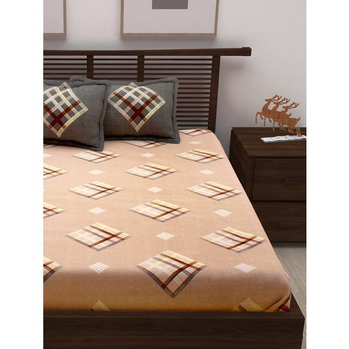 Story@Home 120tc cotton double bedsheet with 2 pillow covers