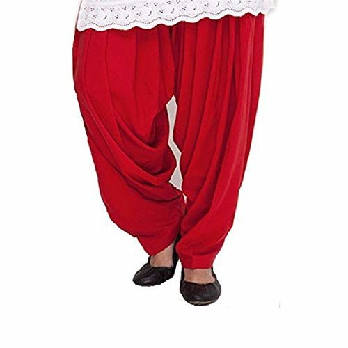 Pal Bro's Store Indian Women's Semi Patiala Salwar for Girls - (Free Size ; Red)