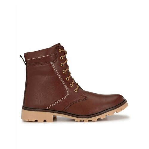 GUAVA Panelled Ankle-Length Lace-Up Boots