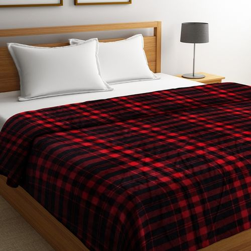Portico New York Checkered Double Coral Blanket(Polyester, Black)