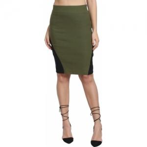 Diaz Green Solid Pencil Skirt