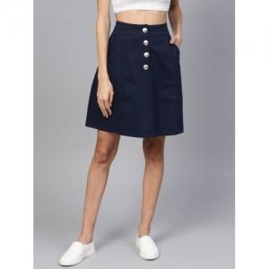 Popnetic Dark Blue Solid A-line Skirt